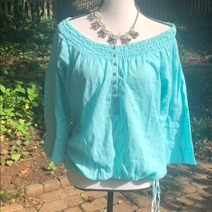 Maurice's baby blue textured blouse